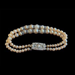 """1950's/ 60"""" Pho Soft Pink Pearl, Crystal Necklace"""